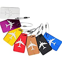 Febbya Luggage Tags, Travel Luggage Baggage 7 Pack Bright Colors Tour Suitcase Baggage Handbag Labels Business Card Holder For Travel Bussiness Trip With Aluminum Strip