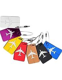Etiqueta de identificación del equipaje, Febbya Etiquetas para Equipaje 7 Pack Colores brillantes Maleta de Viaje Equipaje Etiquetas de Equipaje Portatarjetas de Viaje de Negocios con Tira de Aluminio