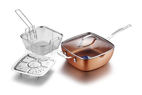 COOKSMARK Copper Pan 24CM (9.5-IN) Nonstick Deep Square Induction Fry Pan with Glass Lid, Stainless Steel Fry Basket, Steamer Rack, Dishwasher Safe Oven Safe 4 PCS Set