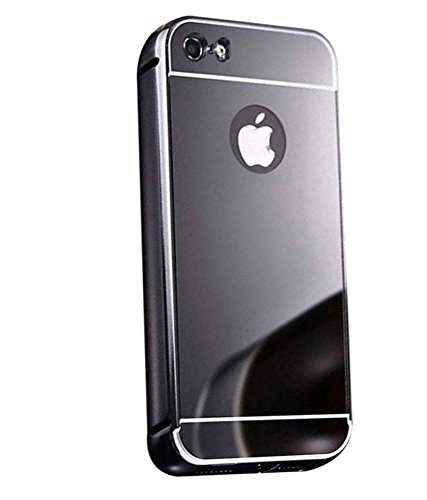 Premsons Soft TPU Metal Bumper with Acrylic Mirror Back Apple Designer Cover Case For iPhone 6 / 6S,Black  available at amazon for Rs.174