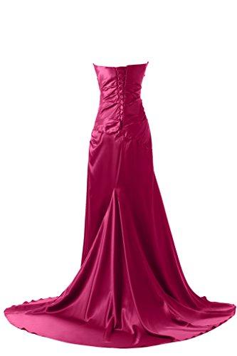 Victory bridal traegerlos moderne avec perles et strass abendkleider promkleider partykleider brautjungfernkleider long en satin Rose - Fuchsia