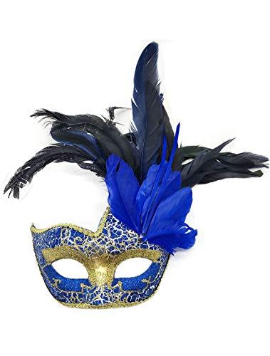 Feder Blauen Kostüm Maske - Flywife Feder Maskerade Masken Halloween Mardi Gras Karneval Maske Kostüme Venezianisch Party Masken (Königlich Blau)