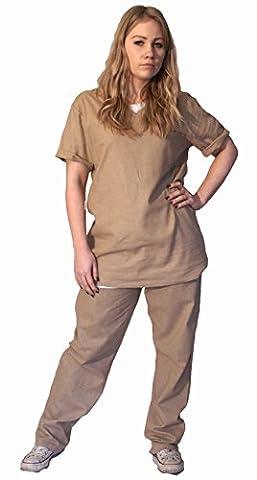 Orange or Beige Ladies Prison Suit (Men: Large, Beige) by The Cosplay Company