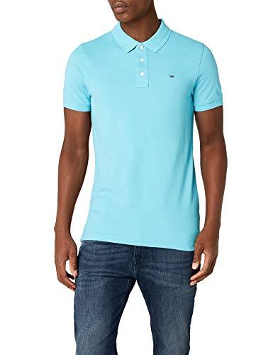 Tommy Jeans Herren Basic Kurzarm Regular Fit Polo Shirt Blau (Maui Blue 414) Medium