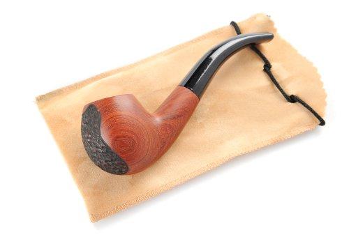 Pipa di tabacco fatta a mano 'Bent Billiard' con bocchino affusolato - rivestimento in legno di sandalo rosso cerato, con incisione di motivo (incisione e colore può variare, a volte senza incisione), Mod. OW-01