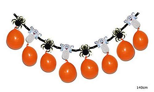 Luxuspiraten - Halloween Dekoration, Deko Girlande Süßes oder Saures mit Spinnen und Geistern, 140cm, Garland Trick or Treat, ideal für Jede Halloween Party / Feier, Orange
