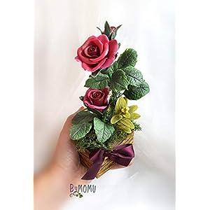 Blumen der roten Rosen mit kaltem Porzellan Handgemachte, Geschenk und Dekoration