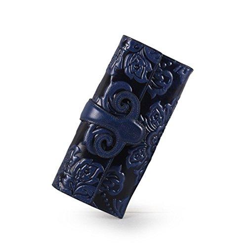 WU Zhi Lady In Pelle La Posizione Multi-card Fermasoldi Portafogli Blue