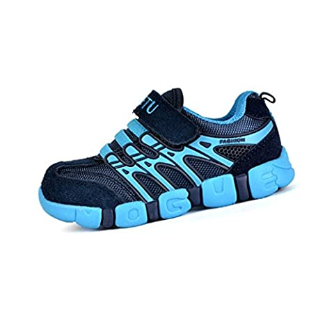 Sommer Kinder Turnschuhe Sport Atmungsaktive Mesh Schuhe Outdoor Freizeit Laufschuhe Rutschfest Straßen Sneaker für Jungen Mädchen, Blau 30