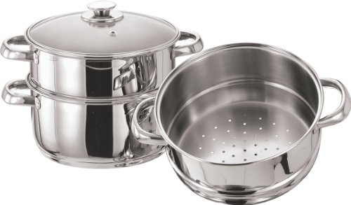 Pristine Tri Ply Induction Base Stainless Steel 3 Tier Multi Purpose Steamer with Glass Lid, 18 cm, 1Piece, Silver