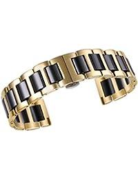 20 mm de acero inoxidable de lujo de cerámica reemplazo enlace correa del reloj de pulsera de inox en oro dos tonos y negro