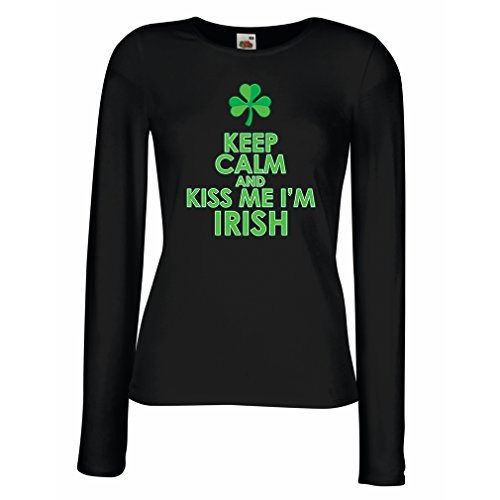 Weibliche Kiss Kostüm - Weibliche Langen Ärmeln T-Shirt Kiss me I'm Irish, Saint Patrick Day Jokes Quotes Shirts (Large Schwarz Mehrfarben)