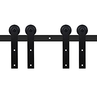 LWZH American Style 7.5FT Sliding Barn Door Hardware Kit for Double Door Closet Track Set(Black I-Shaped Hangers)