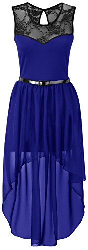 New Womens Plus Size Uneven Chiffon Dip Hem Lace Belted Prom Party Dress ( Royal Blue , UK 24-26 / EU 52-54 ) (Womens Blue Prom Dresses)