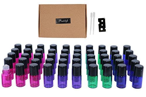 Minibotellas de cristal de 2 ml, 50 unidades de aceites esenciales multicolores, botellas de bolas recargables, rollo de botellas de perfume, vial, pipetas y abridor de botellas