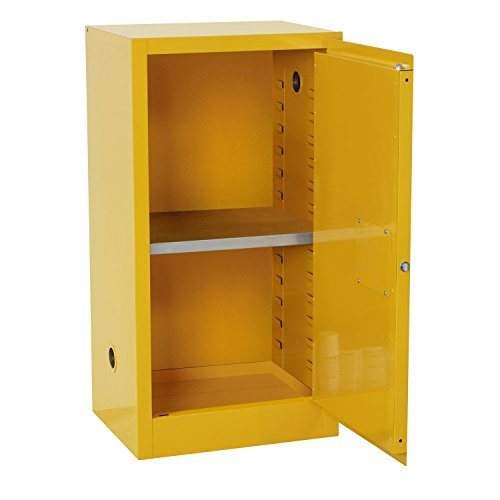 Edsal SC12F-P Safety Cabinet for Flammable Liquids, Single Door and Manual Close, 12 gal, 889 mm Height, 584 mm Width, 457 mm Depth, Steel, Yellow