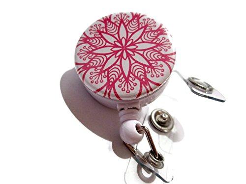 atlanyards Pink Boho Blume Retractable Badge Reel, Swivel Clip Badge Holder, 459