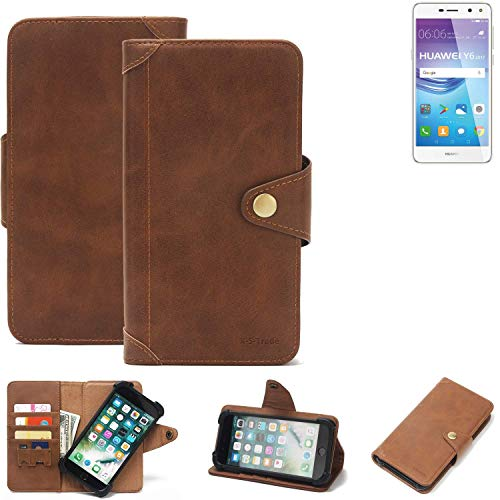 K-S-Trade Handyhülle Huawei Y6 2017 Single SIM Schutzhülle Walletcase Bookstyle Tasche Handyhülle Schutz Case Handytasche Wallet Flipcase Cover PU Braun (1x)