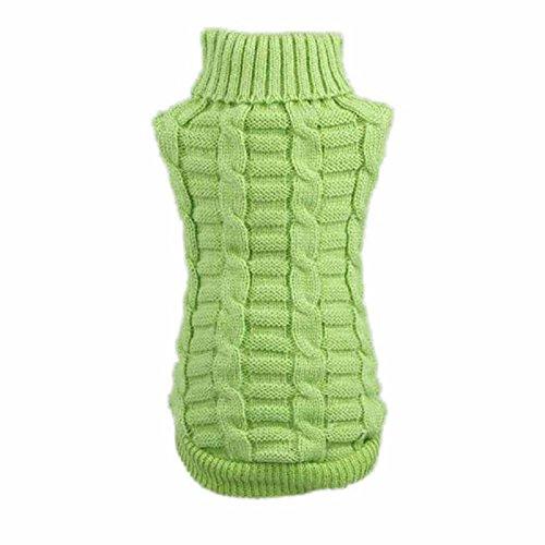 kaíki 6Größe Hund Kleidung Haustier Winter Wolle Pullover Strickwaren Puppy Kleidung Warm Hanf Blumen Mantel hoher Kragen (grün) -