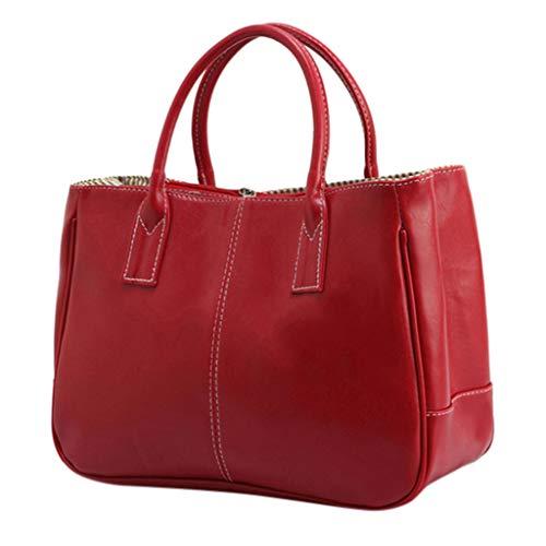 Deloito Damen Grosse Kapazität Tote Taschen Mode Einfach vielseitig Schultertasche Allzweck Weiches Leder Handtasche (Rot) (Rot Gitter, Vorhänge)