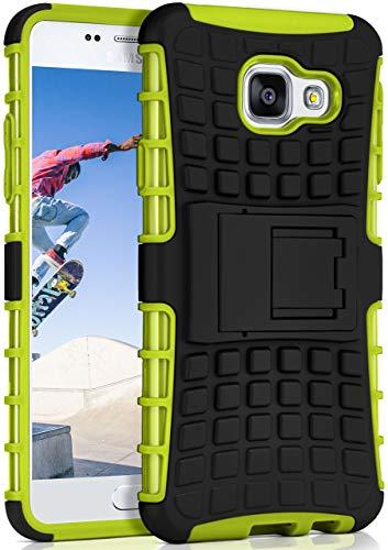 OneFlow® Outdoor Back-Cover aus Silikon + Kunststoff [Double-Layer] passend für Samsung Galaxy A3 (2016) | Extrem widerstandsfähiger 360° Schutz, Grün