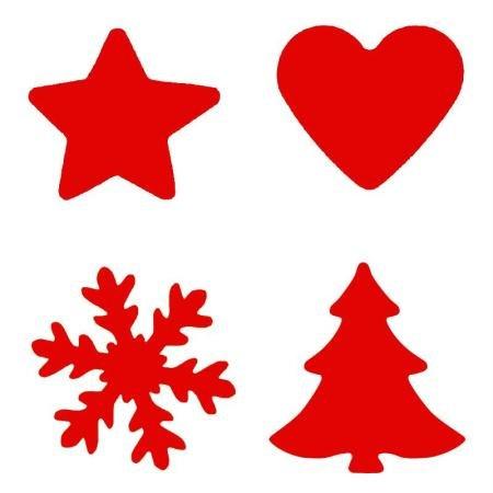 Artemio Motivlocher 4er Set Weihnachten Tanne Schneeflocke Stern Herz