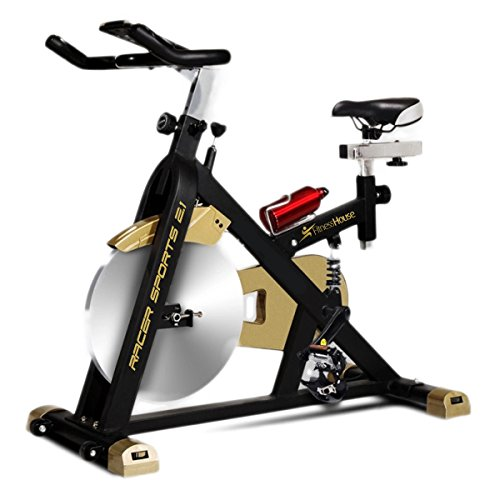 Fitness House Racer Sports Gold - Bicicleta de ciclismo indoor, color negro/dorado, tamaño única