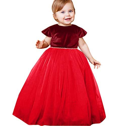 TIFIY Mädchen Kleid Prinzessin Party hochzeitskleid Kleinkind Party Tütü Kleid Kinder fliegen hülse Feste Perle Bridesmaid Abendkleid (rot,100(18M-24M))