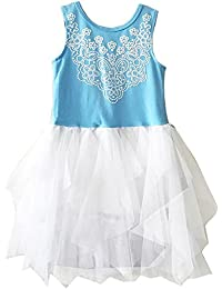 c9c95065b5e Toddler Sleeveless Beautiful Screen Prints Tulle Special Occasion Dress  Blue 2T QZ-500814