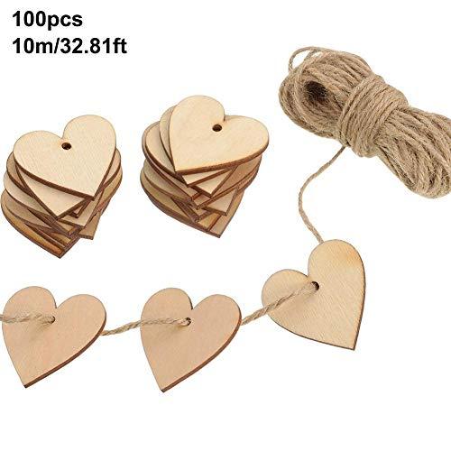 rne Herzformanhänger mit Löchern DIY Kunsthandwerk mit 10 m Schnur für die Hochzeit DIY Kunsthandwerkskarte Making Valentine Decoration ()