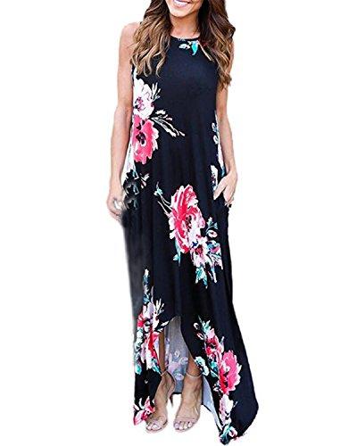 Auxo Damen Ärmellos Lange Kleider Blumen Rundhals Dress Sommer Lose Party Strandkleid Schwarz EU 40/Etikettgröße L Floral Print Maxi-kleid