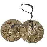 """Budista tibetano de mano Campanas Tingsha con Craved Dharma Objetos """"8 símbolos de la suerte"""" - (Ting-8SGN-MID)"""