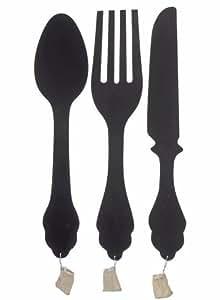 Ensemble de 3 tableaux mémo muraux en forme de couverts (couteau, fourchette, cuillère) en mDF noir h79cm