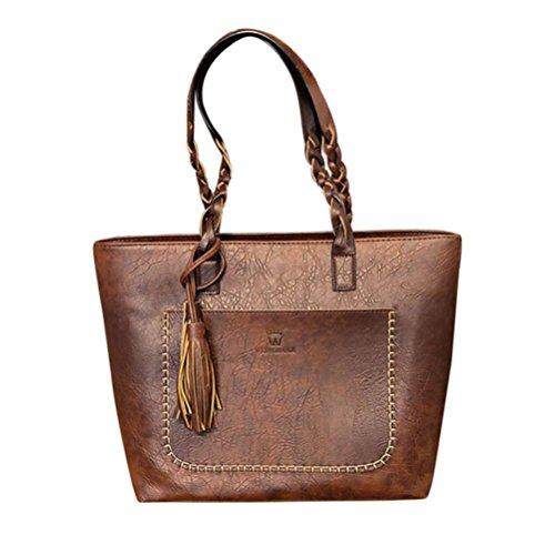 squarex Leder Fransen Damen Handtasche Schultertasche Messenger Bag Damen Umhängetasche Tote Taschen coffee AS Show (Windel-schultertasche)