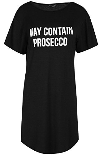 OOPS OUTLET Damen Kurzärmlig ENTHÄLT PROSECCO Bedruckt überdimensional Halbrunder Saum Langes Tunika T-Shirt Kleid Schwarz