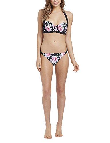 Lipsy Damen Bikinihose mit floralen Details Schwarz 46 (Floral Denim Verziert)
