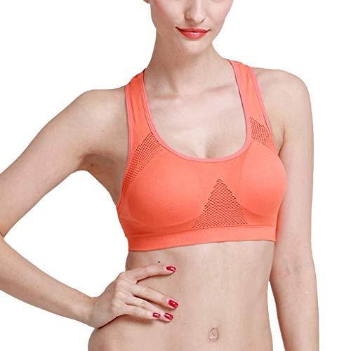 kolila Damen Yoga Vest, Atmungsaktive Bequeme Laufsport Sportweste,Frauen Volltonfarbe Nahtlose gepolsterte Weste Tops(Orange,L)
