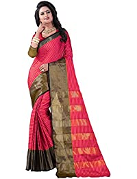Vastrang Women's Cotton Silk Saree With Blouse Piece(A115_Pink_Free Size)
