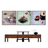 QAZ 3 Pieces Tea Spray Paintings Painted On Canvas Decorative Painting Wall Pictures No Framed