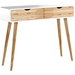Wholesaler GmbH Table Console Bois Blanc Nature Console Coiffeuse Buffet Moderne Table Design