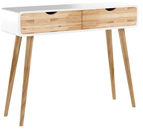 Wholesaler GmbH Weißer Konsolentisch Holz 2 Schubladen - skandinavischer Natur-Look Kommode Anrichte Sideboard Wandtisch Flur Retro