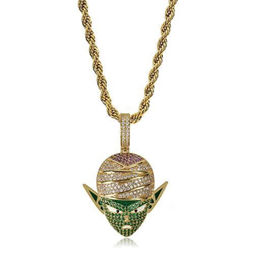 Qiulv Teufel Anhänger 18K Gold Überzogen Dragon Ball Halskette Micropave Iced Out Bling Piccolo Majin Halskette Zirkon Inlay Kette Schmuck,Gold