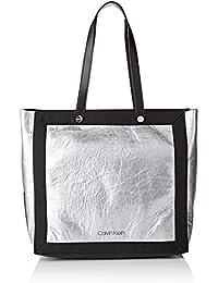 15d2e4edb9 Calvin Klein Outline Ew Shopper - Borse Tote Donna, Argento (SILVER/BLACK)