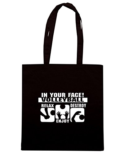 T-Shirtshock - Borsa Shopping ENJOY0115 In Your Face Volleyball Relax Enjoy Destroy Nero