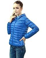 Gaorui Damen Übergangsjacke Steppjacke mit Kapuze Dünn Herbst Jacke Jacket Blau Rot