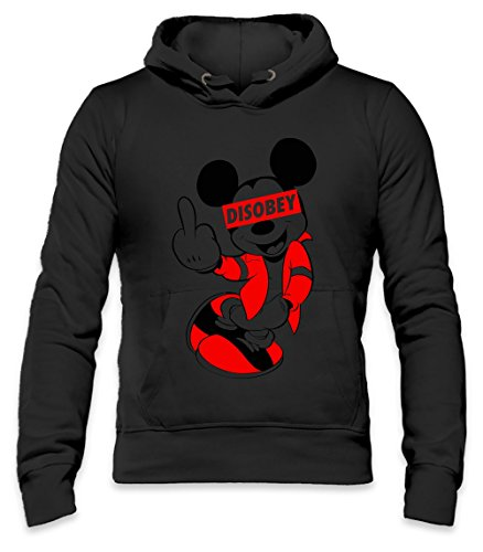 DISOBEY Mickey Mouse Mens Hoodie Large (Beanie Mickey Mouse)