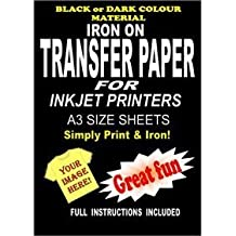 Inyección De Tinta Para Imprimir Hierro En La Camiseta & Tela Papel Transfer Para Telas Oscuras 10 A3 Láminas