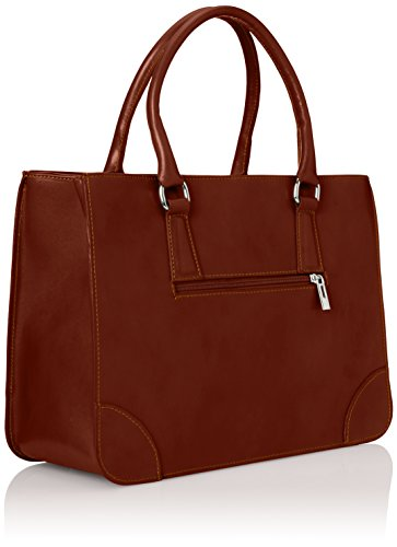 CTM Borsa Donna Elegante Classica, Stile Italiano, 36x26x18cm, Vera pelle 100% Made in Italy Marrone