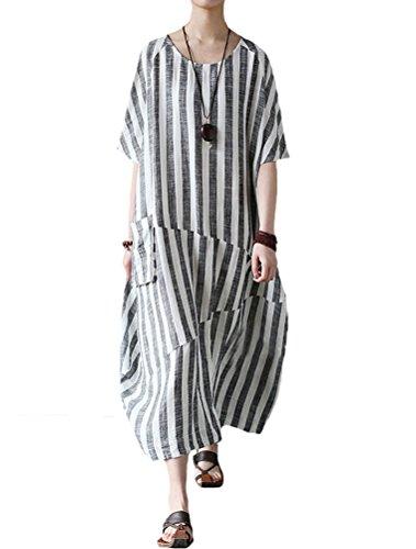 Mallimoda Damen Plus Größe Baumwollleinen Gestreiften Kleid Sommerkleid mit Taschen Schwarz M (Tasche Tessuto Schwarz)
