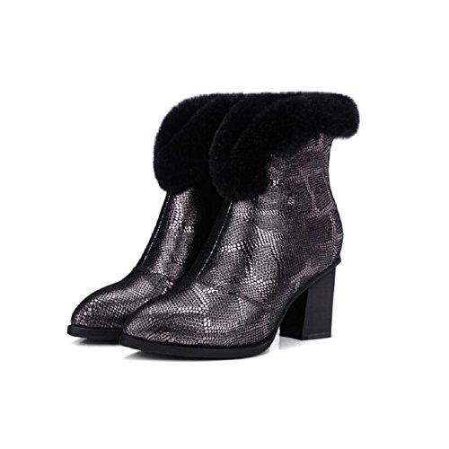 YYH Spessore tacchi e addensare Bootie cotone sottile cachemire caldi stivali di pelle di pecora (Classic Short Pelle Di Pecora)